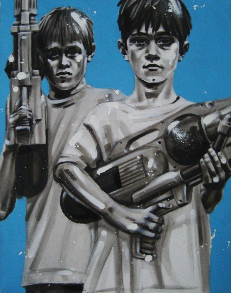 WATERGUNS. Peinture Acrylic/Spray 40/50cm dans PORTRAITS wtrguns1-810x1024