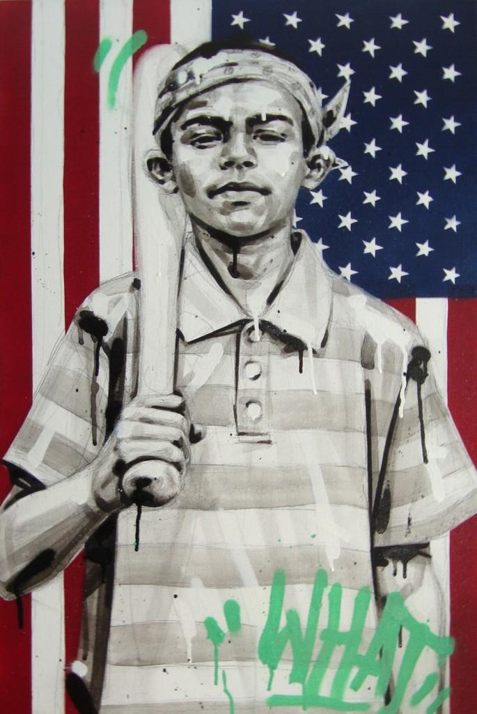 REVOLUTIONARY Peinture Acrylique & Spray 43/55cm dans PORTRAITS WHAT-4355cm-685x1024