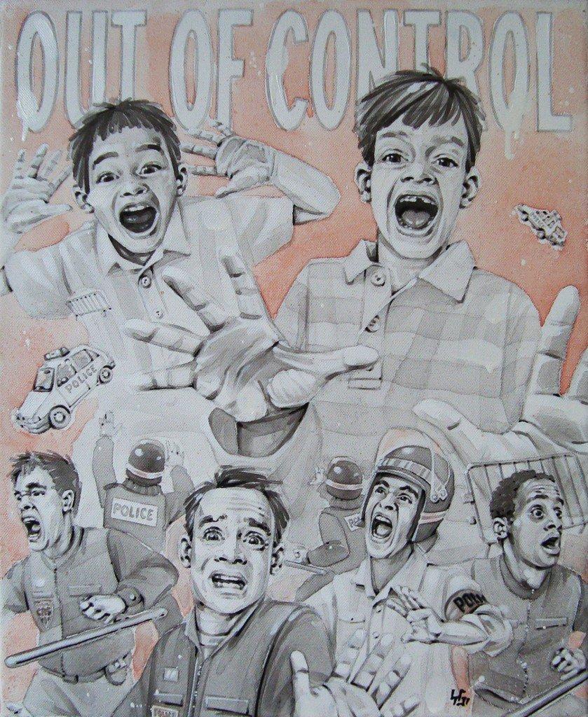 OUT OF CONTROL! Peinture Acrylique, 38/46cm dans PORTRAITS OutOfControl-839x1024