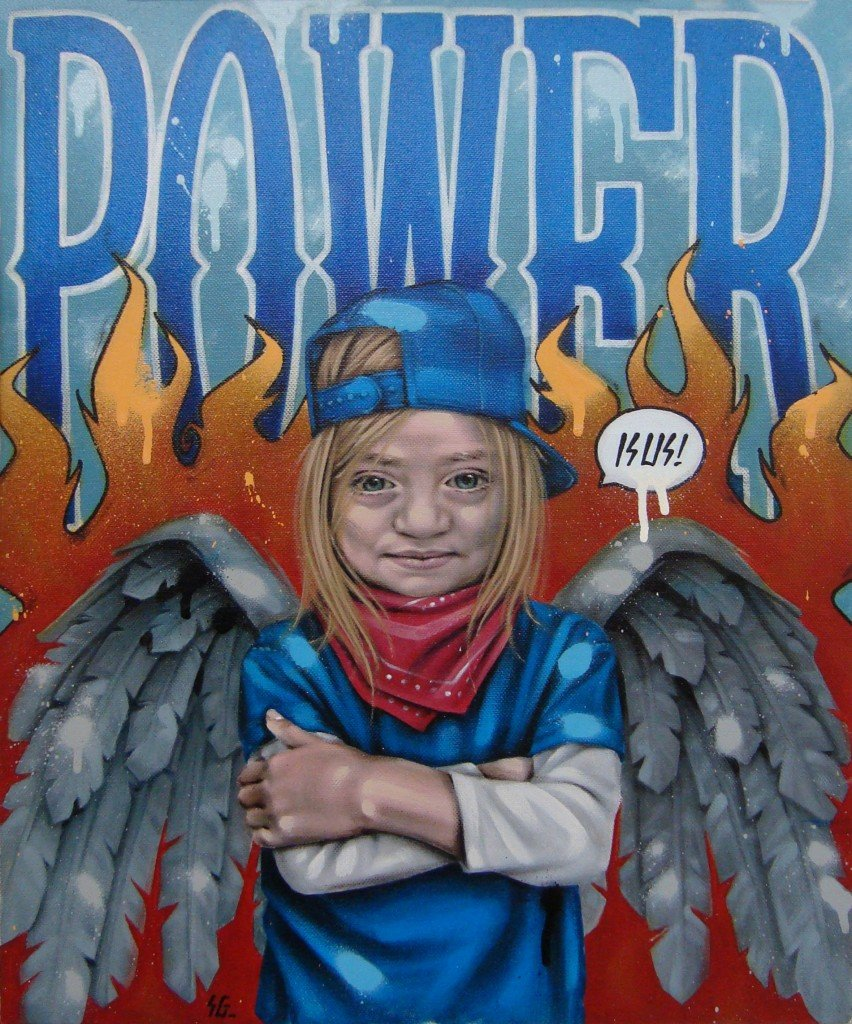 POWER IS US! Peinture Acrylique/Spray, 38/46cm dans PORTRAITS 3PowerIsUs-852x1024